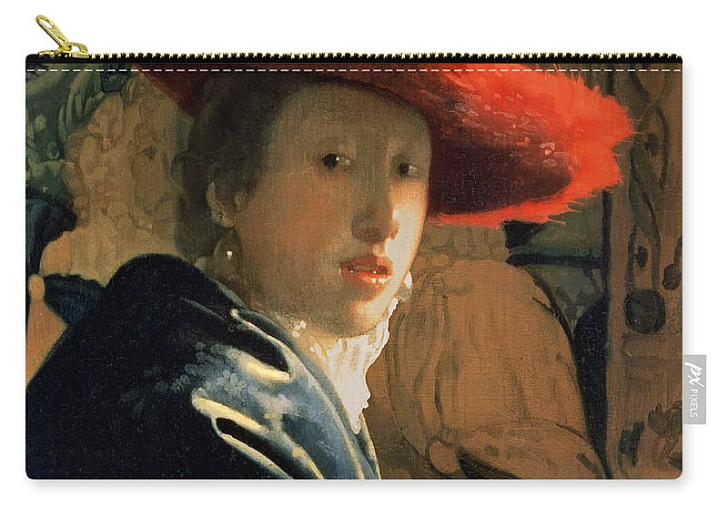 Vermeer Carry-all Pouch featuring the painting Girl With A Red Hat by Jan Vermeer