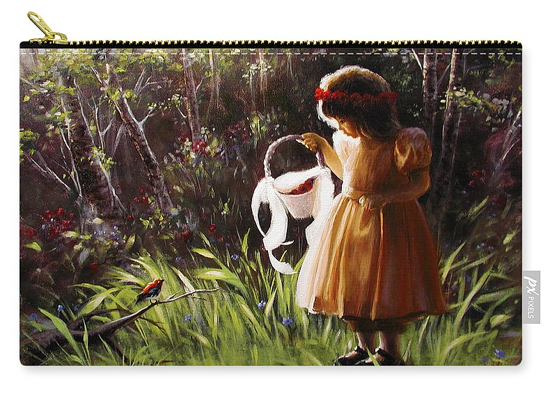 Carry-all Pouch featuring the painting Girl With Basket Of Roses by Stephen Lucas