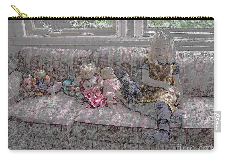 Girl Carry-all Pouch featuring the digital art Girl With Dolls by Ron Bissett