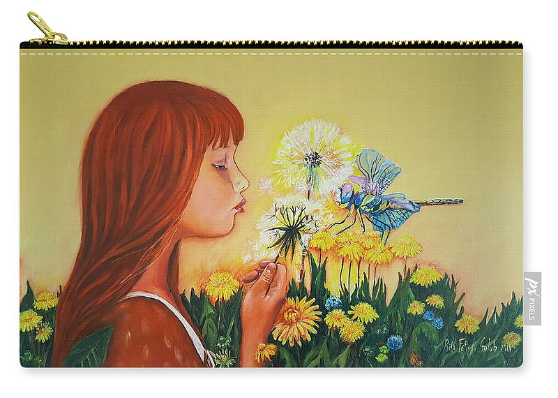 Art Carry-all Pouch featuring the painting Girl With Flower by Rita Fetisov