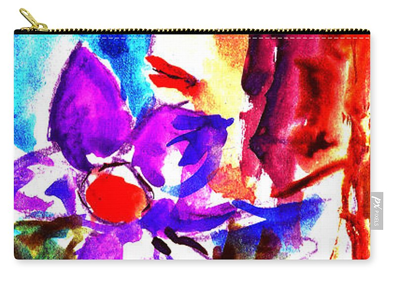 Girl With Flowers Carry-all Pouch featuring the painting Girl With Flowers by Cuiava Laurentiu