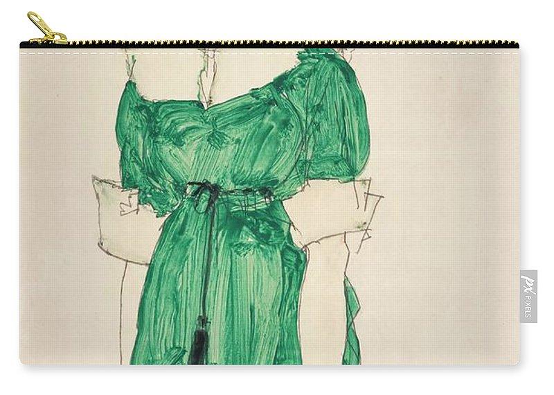 Egon Schiele 1890 - 1918 Stehendes M�dchen Mit Gr�nem Kleid (standing Girl With Green Dress) Carry-all Pouch featuring the painting Girl With Green Dress by MotionAge Designs