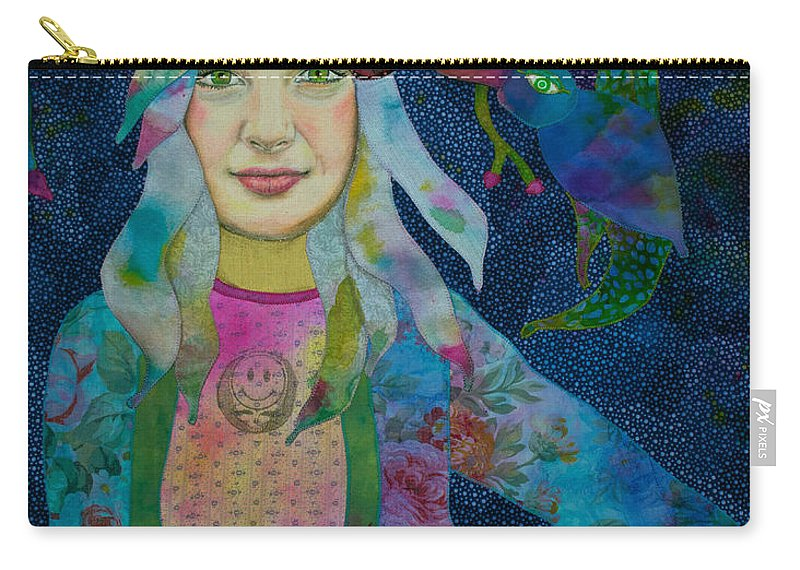 Deadhead Carry-all Pouch featuring the mixed media Girl With Kaleidoscope Eyes by Karen Payton