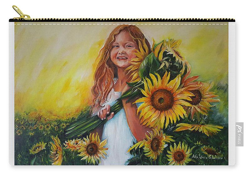 Art Carry-all Pouch featuring the painting Girl With Sunflowers by Rita Fetisov