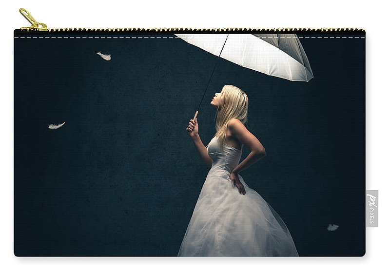Girl Carry-all Pouch featuring the photograph Girl With Umbrella And Falling Feathers by Johan Swanepoel