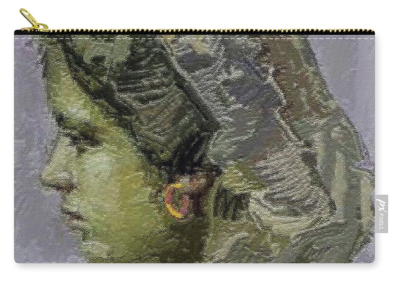 People Carry-all Pouch featuring the painting Girl With Yellow Earring Gwye2 by Pemaro