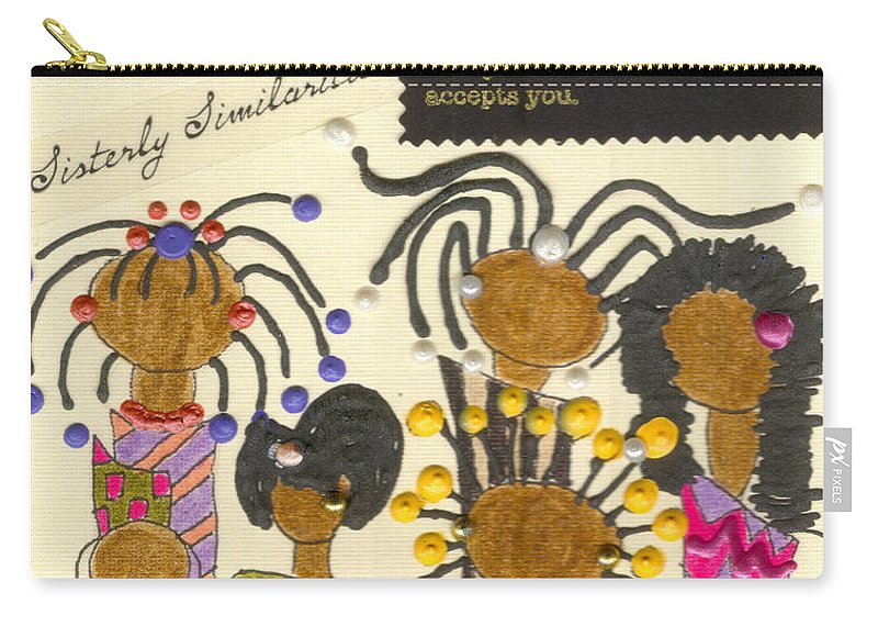 Understanding Carry-all Pouch featuring the mixed media Girlfriends by Angela L Walker