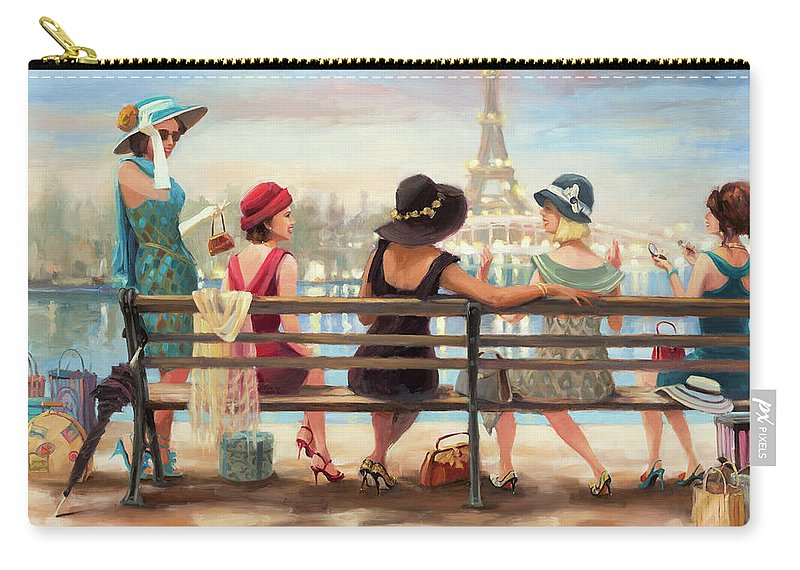Paris Carry-all Pouch featuring the painting Girls Day Out by Steve Henderson