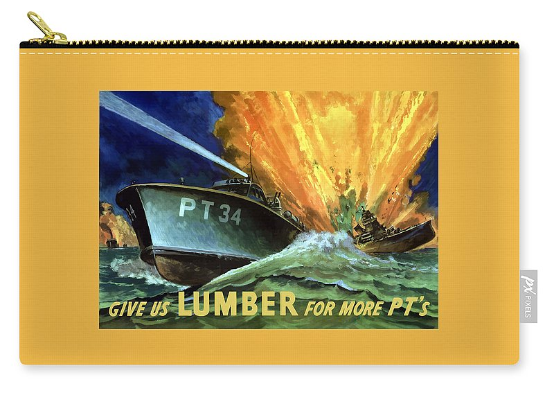 Pt Boat Carry-all Pouch featuring the painting Give Us Lumber For More PT's by War Is Hell Store