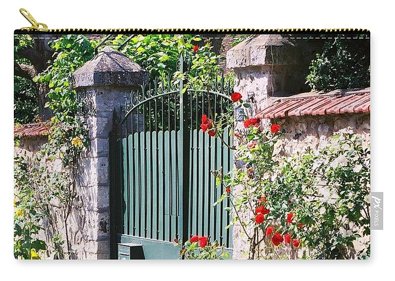 Giverny Carry-all Pouch featuring the photograph Giverny Gate by Nadine Rippelmeyer