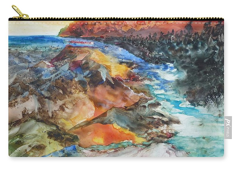 Abstract Carry-all Pouch featuring the painting Glacial Meltdown by Ruth Kamenev
