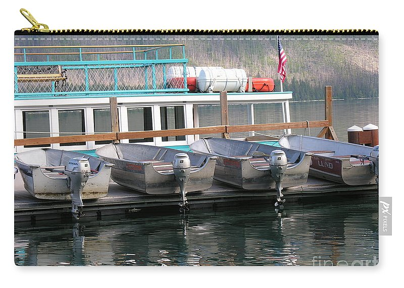 Boats Carry-all Pouch featuring the photograph Glacier Boating by Diane Greco-Lesser