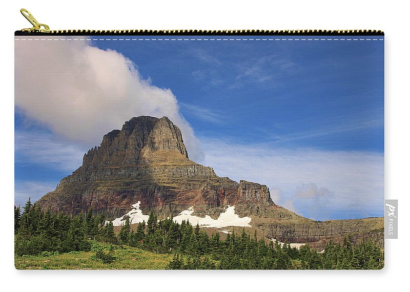 Glacier National Park Mountain Clouds Nature Outdoors Landscape Carry-all Pouch featuring the photograph Glacier National Park At Logan Pass by Shari Jardina