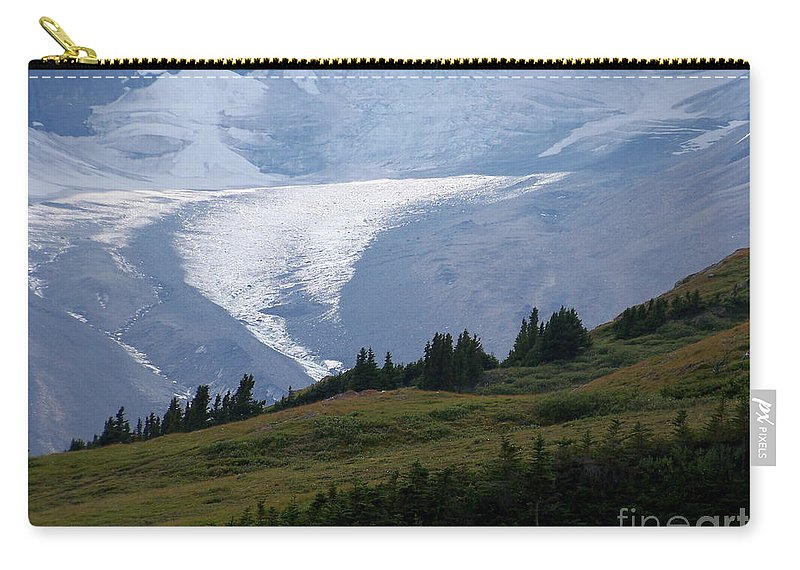 Glacier Carry-all Pouch featuring the photograph Glacier Tongue Scours The Valley Far Below by Greg Hammond