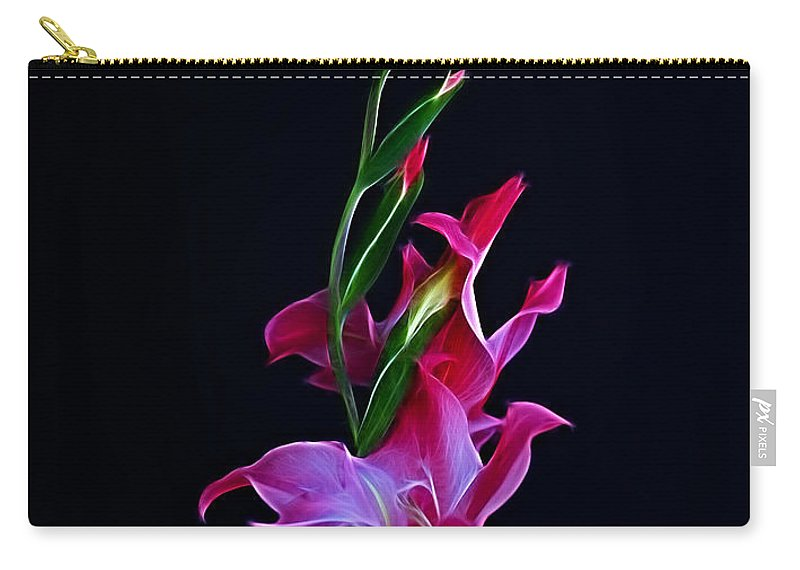 Gladiola Carry-all Pouch featuring the photograph Gladiola Opening by Sandy Keeton