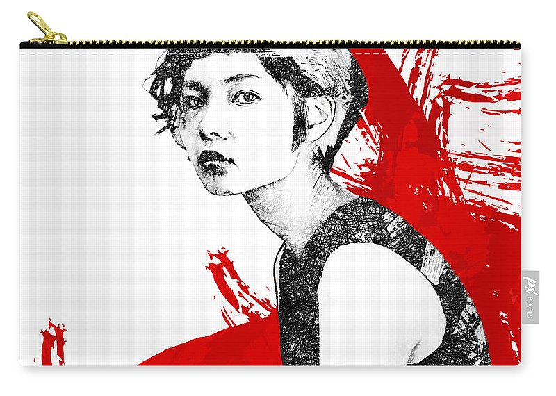 Portrait Red Black White Woman Carry-all Pouch featuring the digital art Glare by Katherine Smit