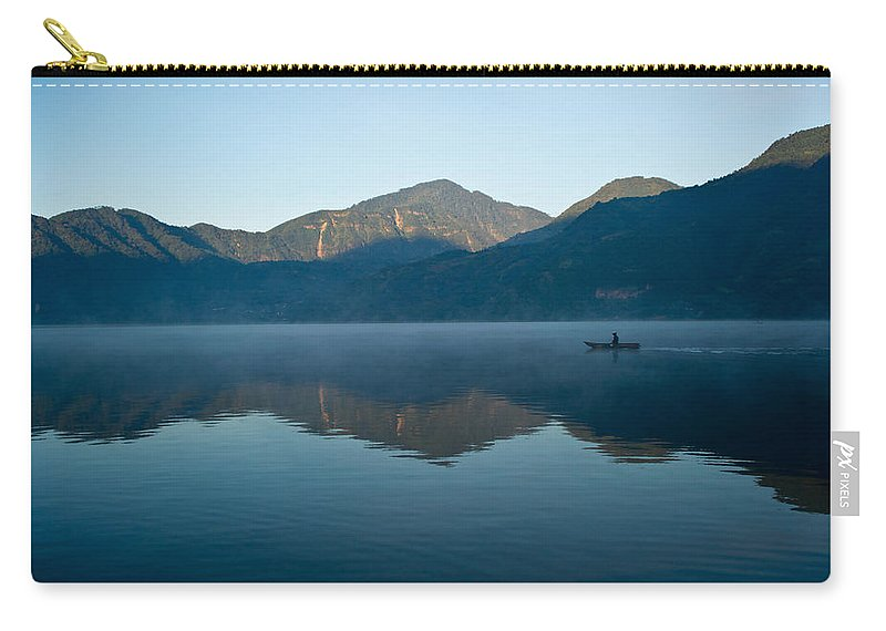 Volcano Carry-all Pouch featuring the photograph Glass Lake Atitlan Guatemala 1 by Douglas Barnett