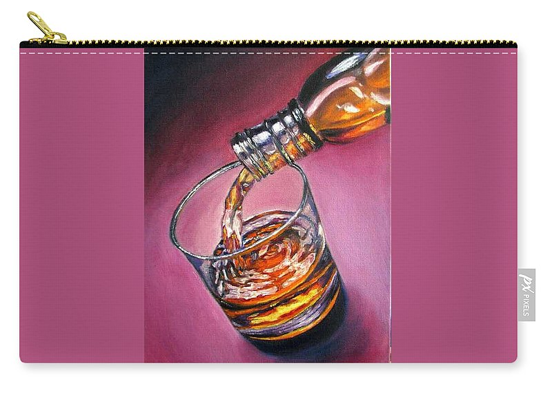 Glass Of Wine Carry-all Pouch featuring the painting Glass of Wine Original oil painting by Natalja Picugina
