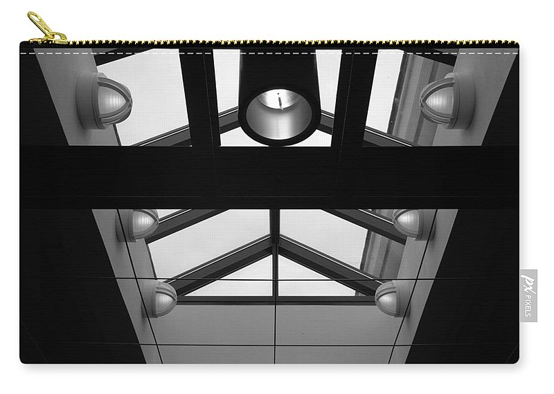 Black And White Carry-all Pouch featuring the photograph Glass Sky Lights by Rob Hans