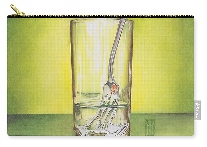Bizarre Carry-all Pouch featuring the painting Glass With Melting Fork by Melissa A Benson