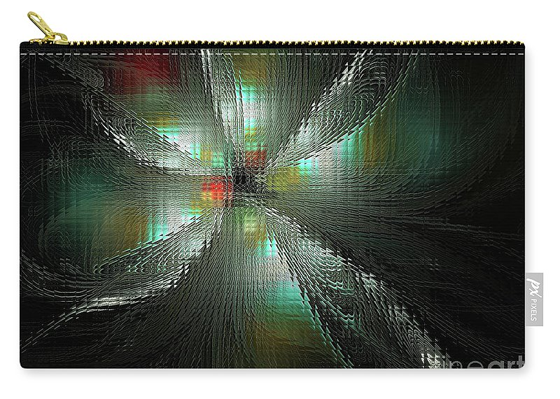 Fractal Carry-all Pouch featuring the digital art Glassworks Fractal by Deborah Benoit