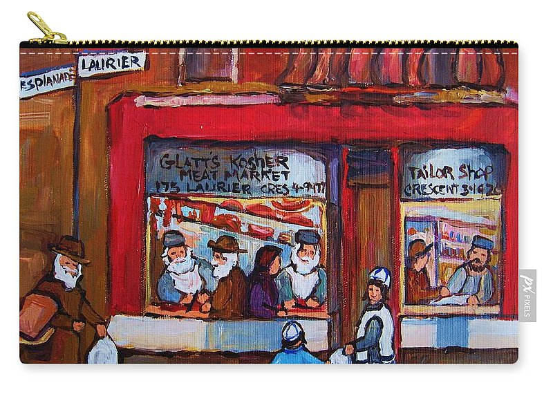 Montreal Street Scene Carry-all Pouch featuring the painting Glatts Kosher Meatmarket And Tailor Shop by Carole Spandau