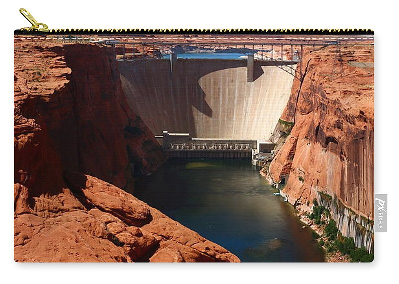 Dam Carry-all Pouch featuring the photograph Glen Canyon Dam - Arizona by Christiane Schulze Art And Photography