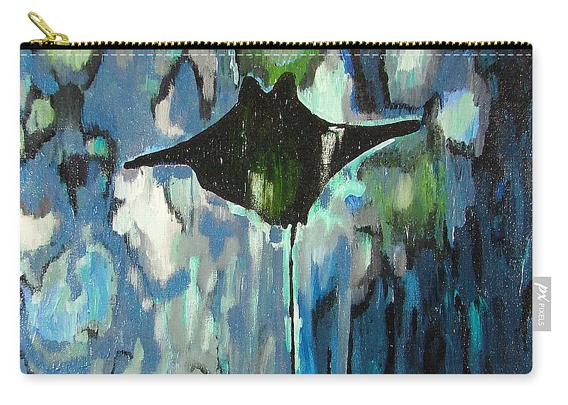 Stingray Carry-all Pouch featuring the painting Gliding Stingray by Heather Lennox