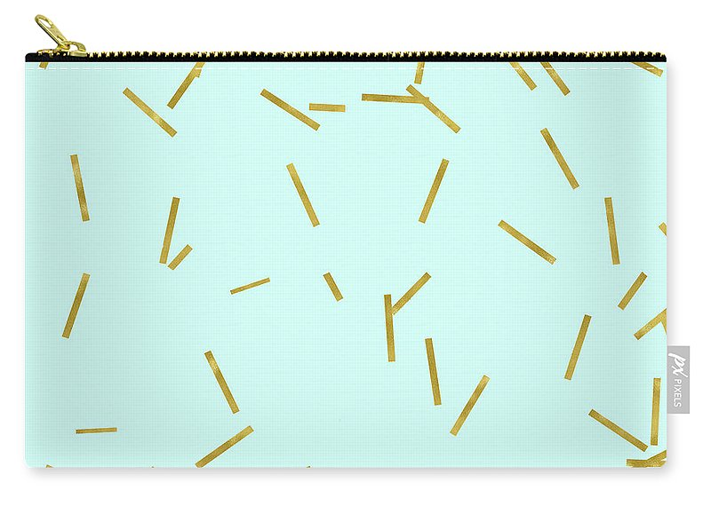 Stix Carry-all Pouch featuring the digital art Glitter Confetti On Aqua Gold Pick Up Sticks Pattern by Tina Lavoie