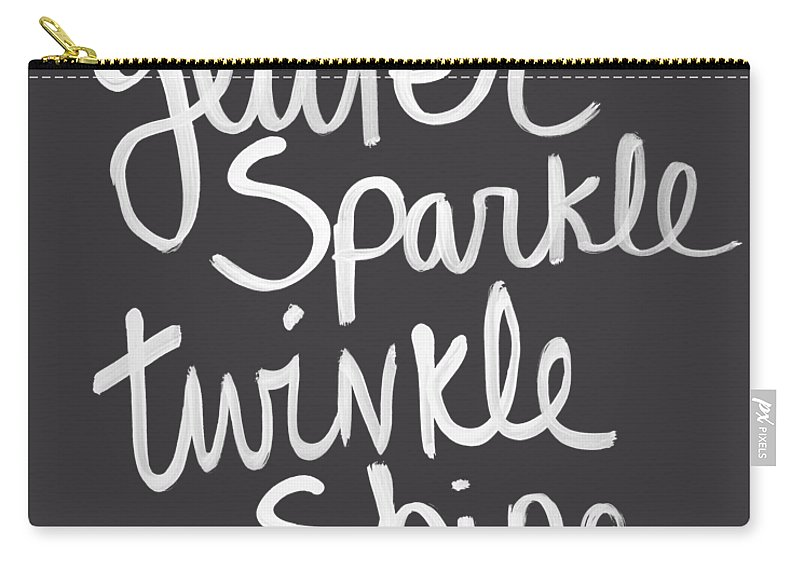 Glitter Carry-all Pouch featuring the mixed media Glitter Sparkle Twinkle by Linda Woods