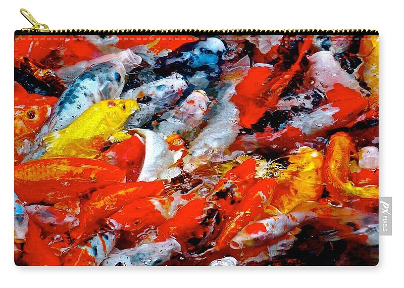 Koi Carry-all Pouch featuring the photograph Glittering Of Koi by Tim G Ross