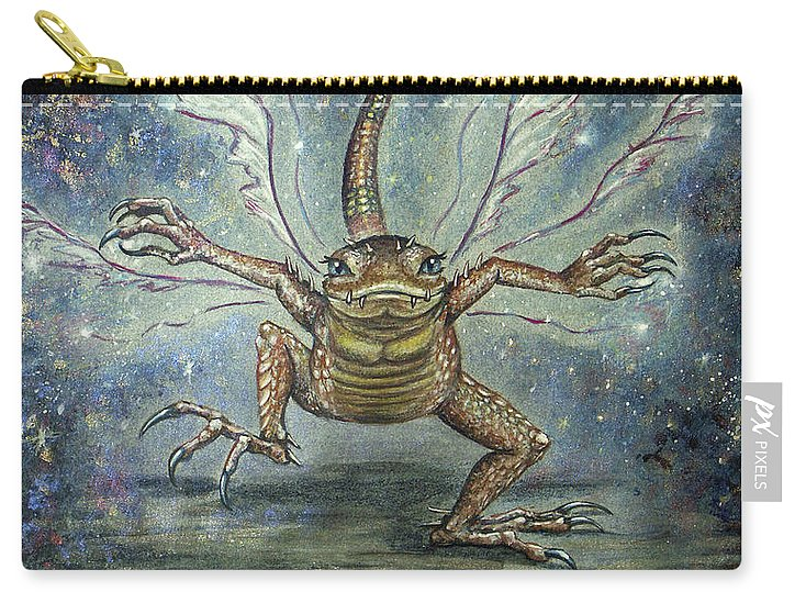 Fairy Carry-all Pouch featuring the mixed media Glitterkin by Carol Phillips