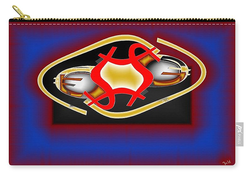 Dollar Carry-all Pouch featuring the digital art Global Dancing Round The Golden Calf by Helmut Rottler