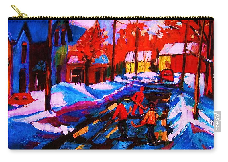 Streethockey Carry-all Pouch featuring the painting Glorious Day For A Game by Carole Spandau