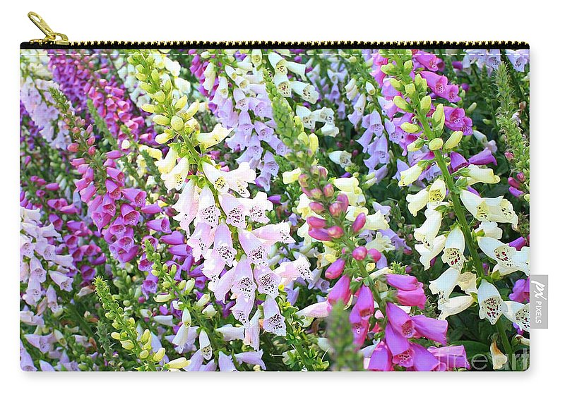 Foxgloves Carry-all Pouch featuring the photograph Glorious Foxgloves by Carol Groenen