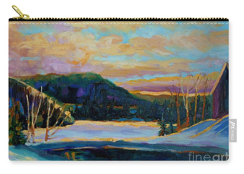 Vermont Carry-all Pouch featuring the painting Glorious Winter Sunrise by Carole Spandau