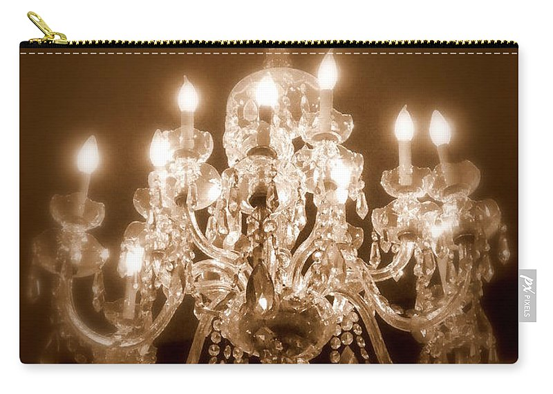 Chandelier Carry-all Pouch featuring the photograph Glow From The Past by Karen Wiles