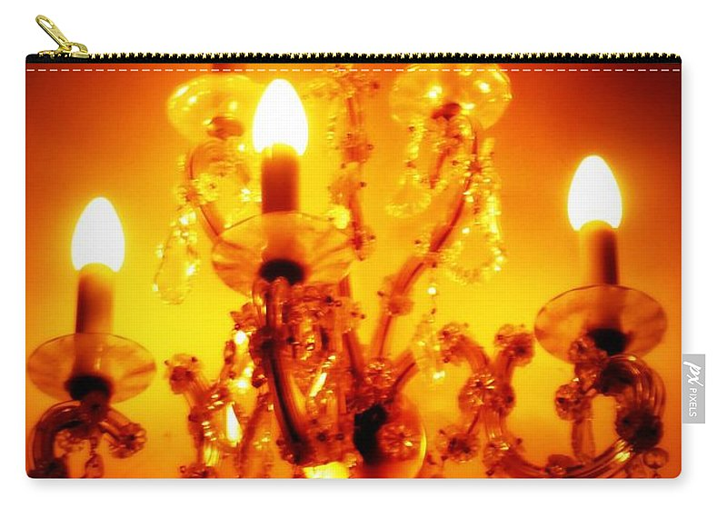 Dining Room Decor Carry-all Pouch featuring the photograph Glowing Chandelier--Companion Piece by Carol Groenen