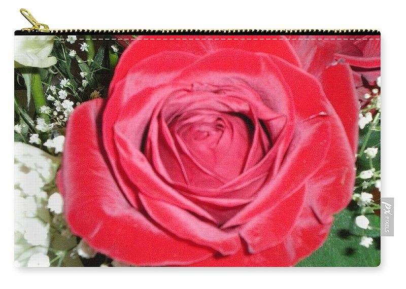 Red Carry-all Pouch featuring the photograph Glowing Rose by Lauren Powell