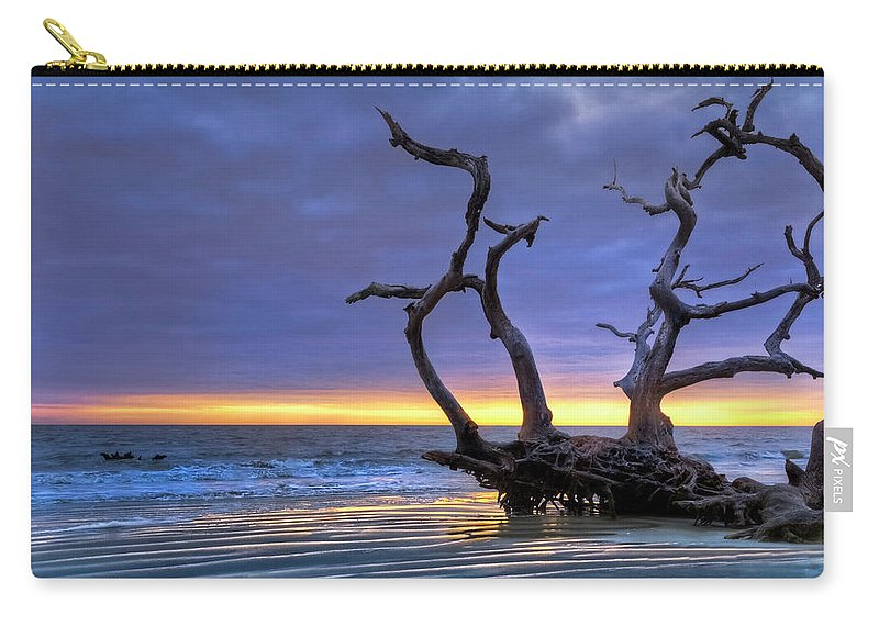 Clouds Carry-all Pouch featuring the photograph Glowing Sands At Driftwood Beach by Debra and Dave Vanderlaan