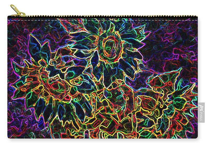 Sunflowers Carry-all Pouch featuring the digital art Glowing Sunflowers by Iliyan Bozhanov