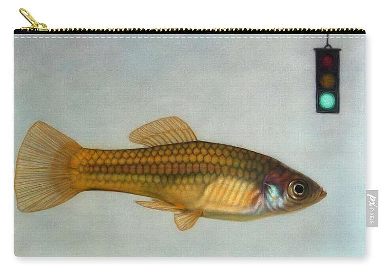 Fish Carry-all Pouch featuring the painting Go Fish by James W Johnson