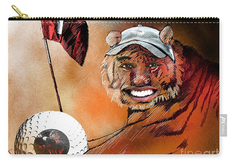 Golf Art Carry-all Pouch featuring the painting Go For It by Miki De Goodaboom