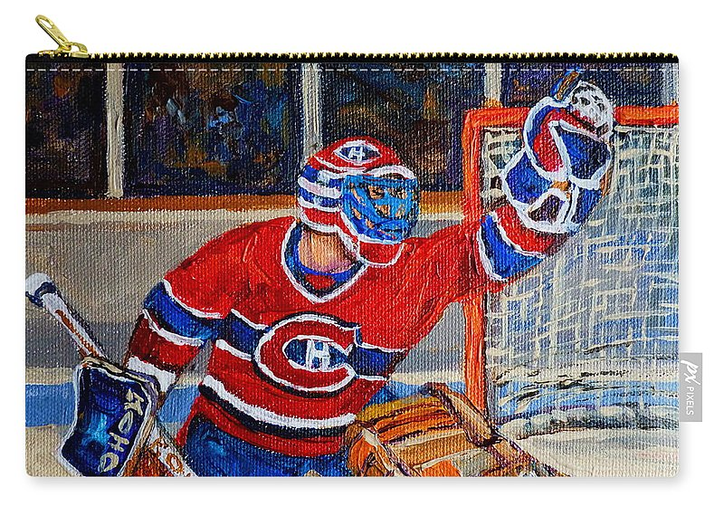 Hockey Carry-all Pouch featuring the painting Goalie Makes The Save Stanley Cup Playoffs by Carole Spandau