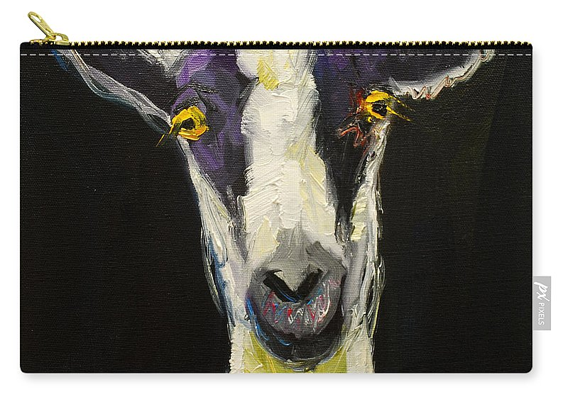 Goat Carry-all Pouch featuring the painting Goat Gloat by Diane Whitehead