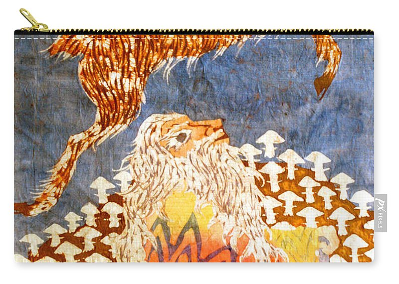 Fantasy Carry-all Pouch featuring the tapestry - textile Goat Leaping Over Wood Elf by Carol Law Conklin
