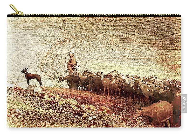 Goats Carry-all Pouch featuring the photograph Goatherd by Mal Bray