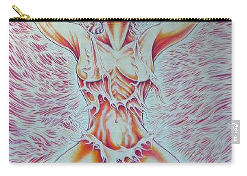 Woman Carry-all Pouch featuring the painting Goddess Breaking Chains by Jacki Randall
