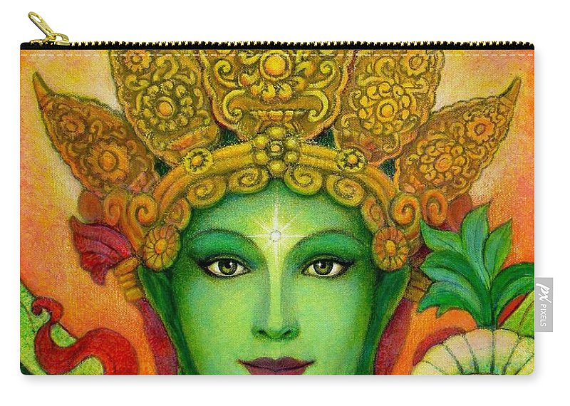 Goddess Carry-all Pouch featuring the painting Goddess Green Tara's Face by Sue Halstenberg