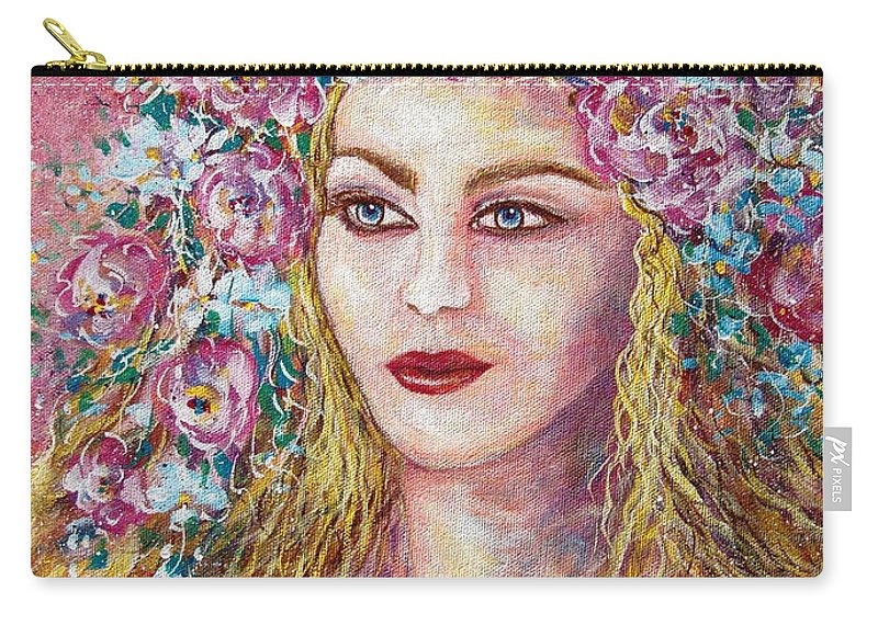 Goddess Of Good Fortune Carry-all Pouch featuring the painting Goddess Of Good Fortune by Natalie Holland